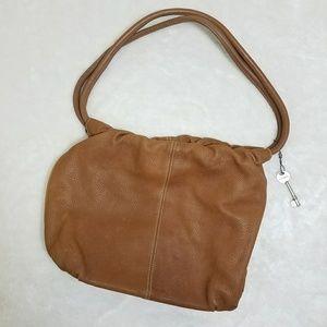 Vintage Fossil Drawstring Brown Leather Handbag